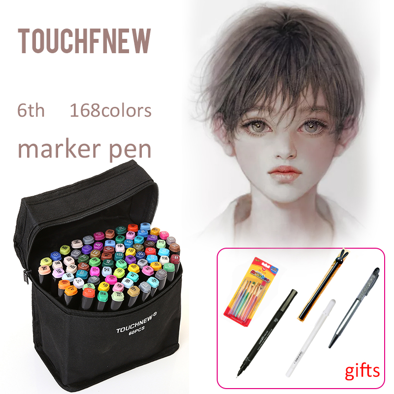 TOUCHNEW 80 color Markers Brush Pen Oily Alcoholic Sketch Marker Drawing Manga Art Supplies Pen For School Stationery touchnew 30 40 60 80 color art markers set material for drawing alcoholic oily based marker manga dual headed brush pen
