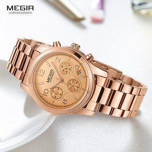 Image 3 - Megir 女性腕時計時計女性トップブランドの高級ローズゴールド腕時計レロジオ feminino часы женские 2057