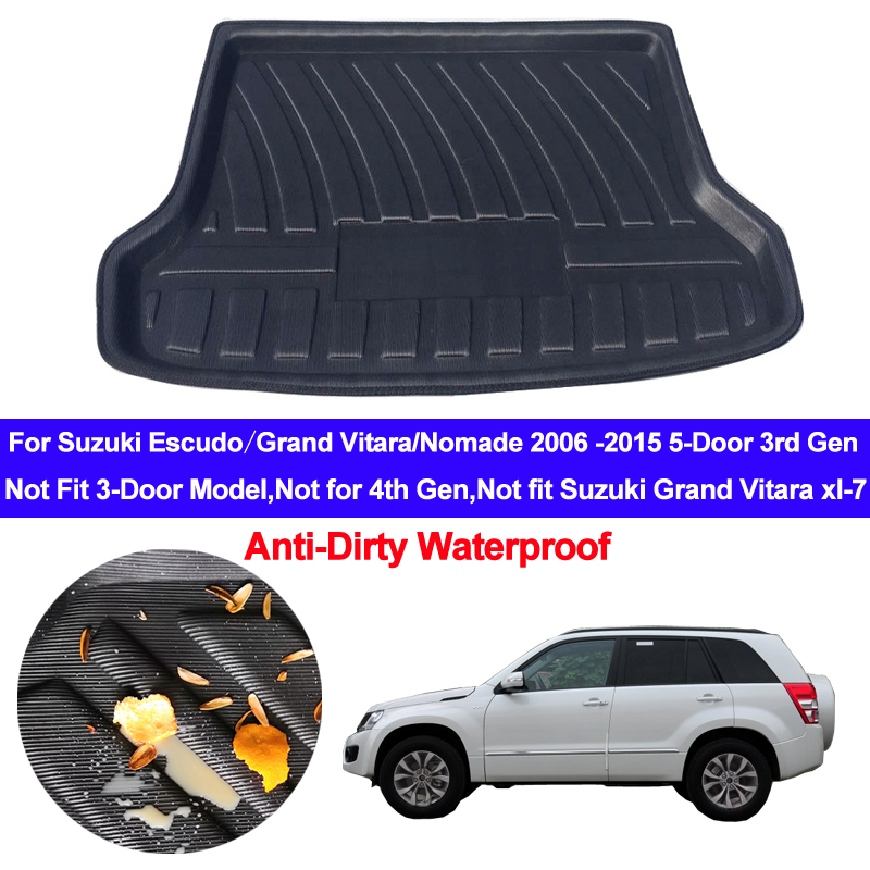 For Suzuki Escudo Grand Vitara Nomade 2006 - 2015 Car Rear Trunk Mat Cargo Tray Boot Liner Carpet Protector Floor Mats 2013 2014