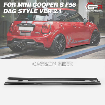 Saia Lateral de carbono Se Estendem Por DAG F56 Mini Cooper S Estilo Ver 2.1 Fibra De Carbono Side Skirt Sob A Placa Do Corpo kit Guarnição Para Mini F56