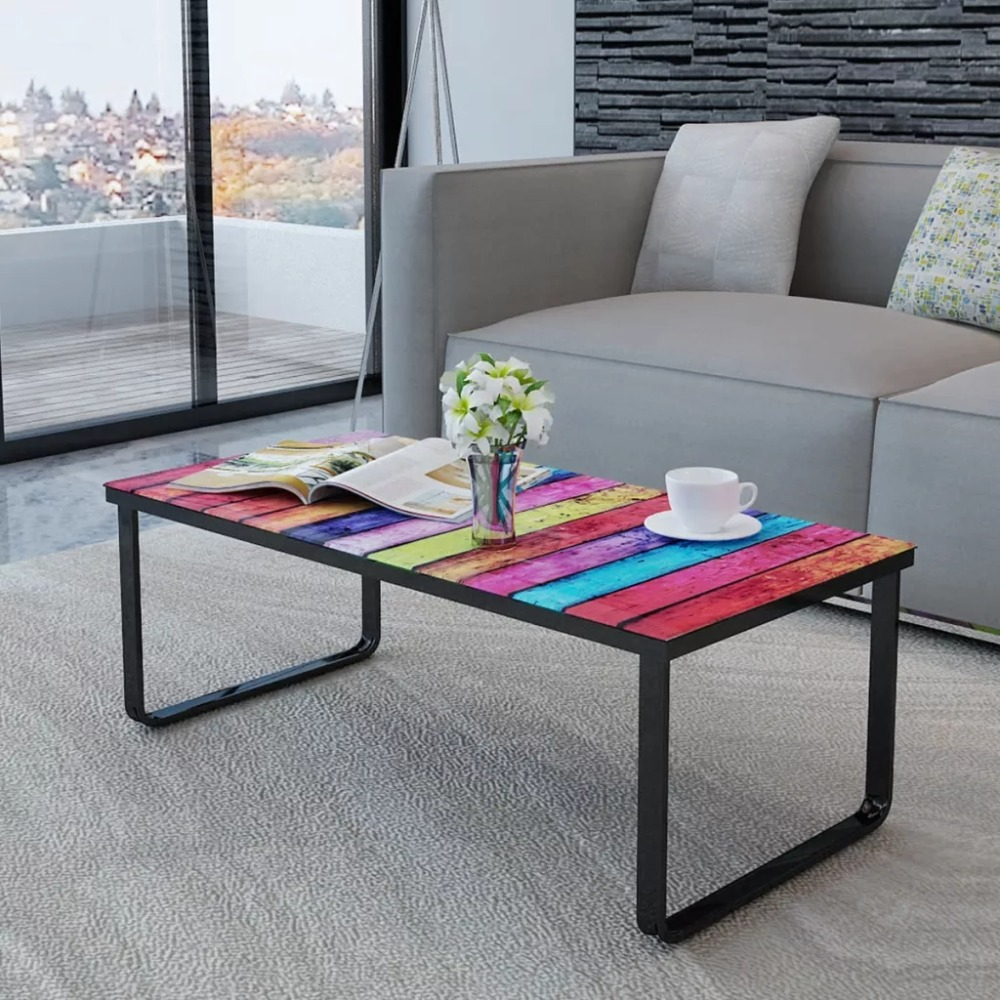2020 New Modern Coffee Table With Rainbow Printing Glass Top Side Table Simple Style Table Basse Sehpa Stable Home Furniture