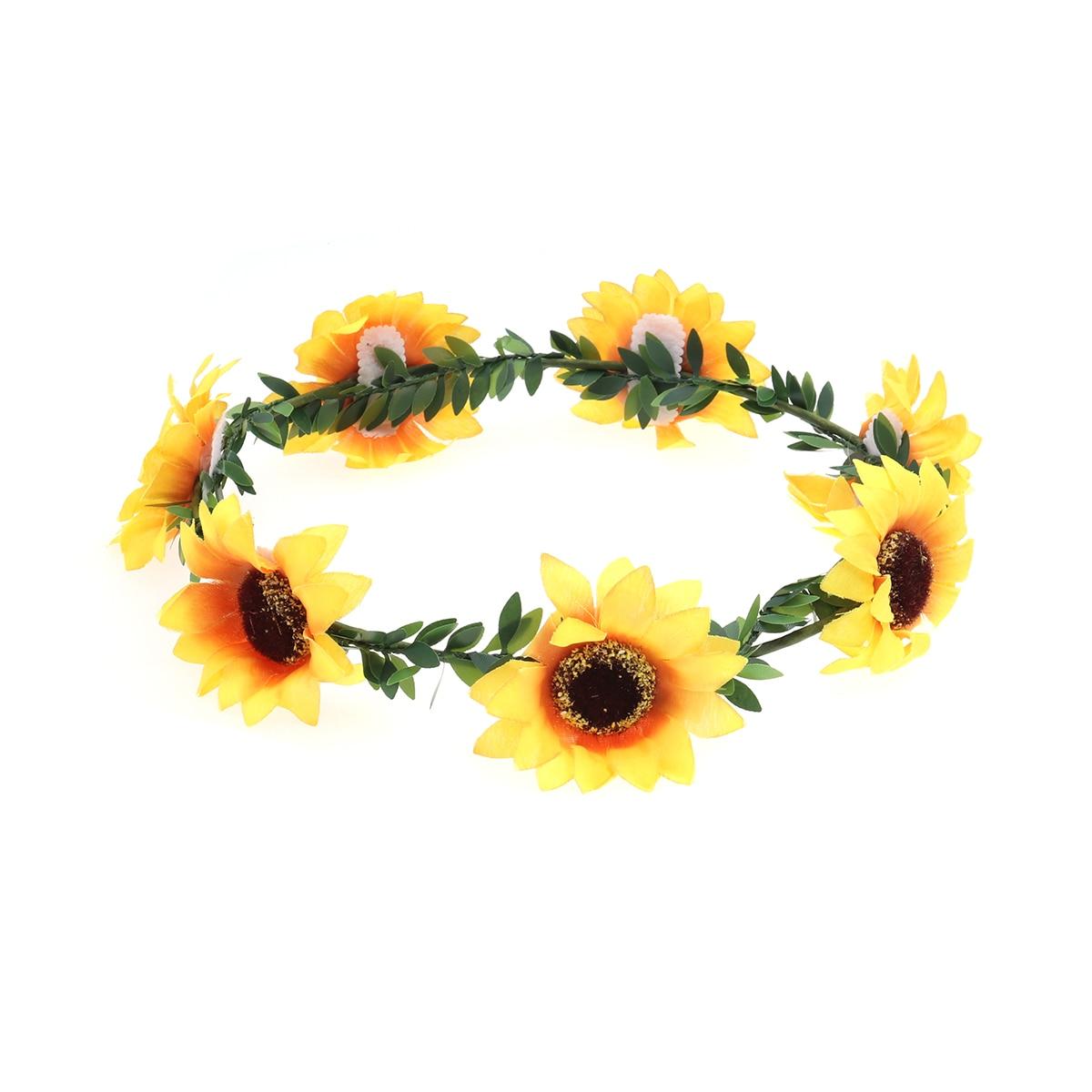 Floral Fall Sunflower Crown Head Band Hair Wreath Bridal Headpiece Festivals HairBand
