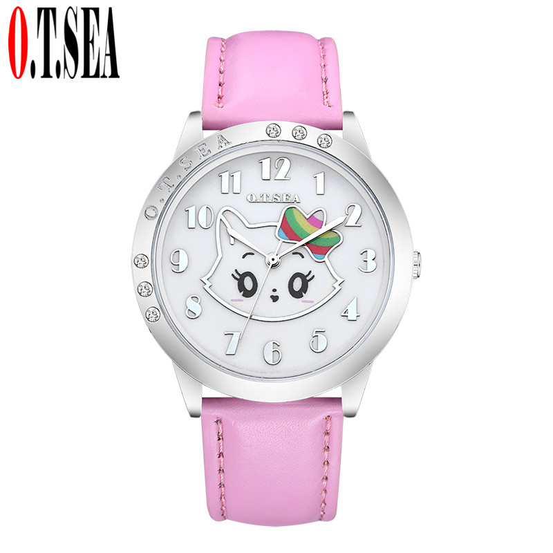 Hot Sale O.T.SEA Brand Lovely Cat Candy Leather Watches Children Girl Women Crystal Dress Quartz Wristwatches