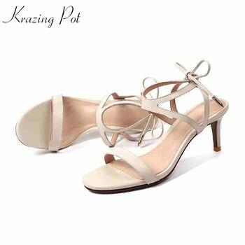 Krazing pot genuine leather retro gladiator rivets peep toe gorgeous fashion sandals women 6cm thin high heels summer shoes L88