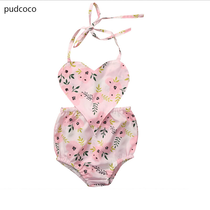 Summer Love Floral Print Backless Rompers Newborn Baby Girls Sleeveless Flower Kids Romper Jumpsuit Outfits Sunsuit Clothes