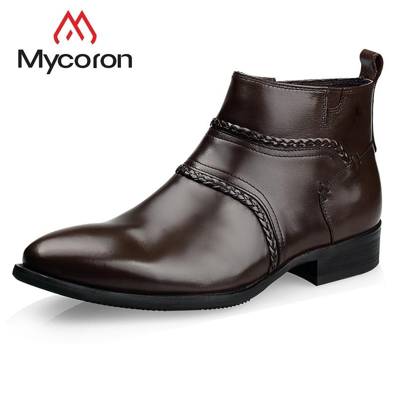 Martin Cheville Bottes Véritable marron Marque Mycoron Noir Mode Zip Qualité Tissé Motif Bout Pointu De Chaussures Cuir Main Luxe En Top Mens my8wvN0nO