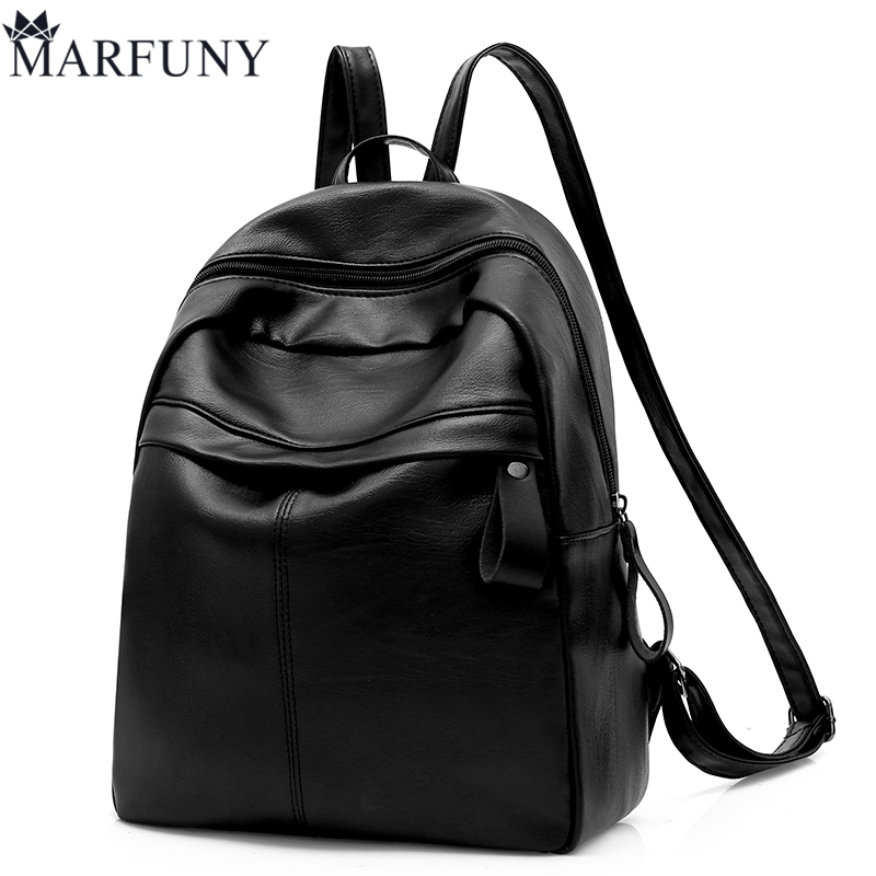 Black Women Backpack Fashion Pu Leather Backpack High Quality Daypack School Bags For High School Girls Solid Women Bag Mochila