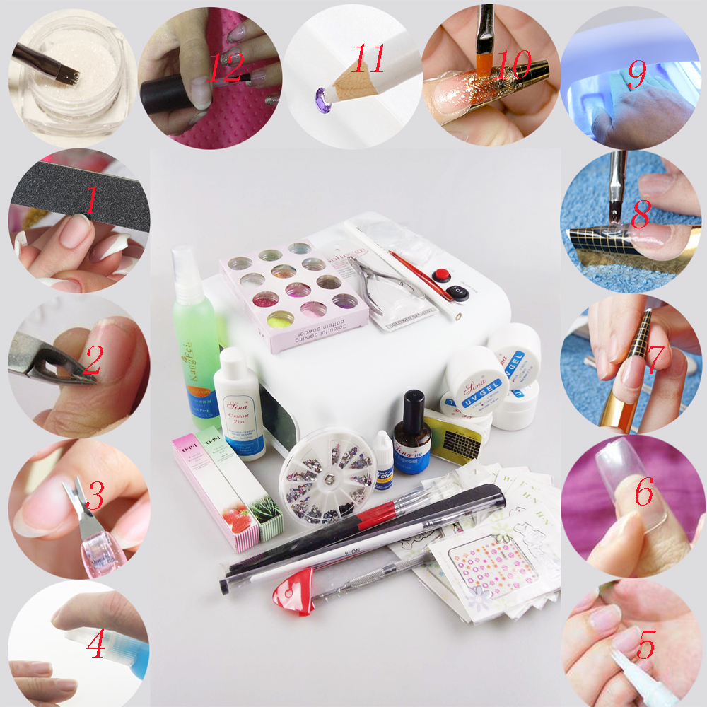 Set For UV Nail Gel Manicure Kit Tools 36W Lamp Professional Unha De DIY Art Manicura Herramientas Nails Magquiagem Conjunto 369 nail art tools kit set 36w uv lamp
