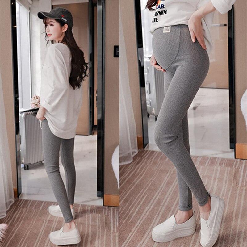 3101 # Qualidade de Estiramento Grossas de Algodão Maternidade Legging 2019 Primavera Outono Calças Barriga Magro Roupas para Mulheres Grávidas Gravidez