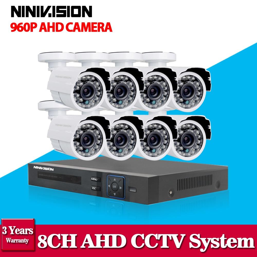 2500TVL 1.3MP 8CH AHD DVR HD CCTV Security Camera 8pcs outdoor bullet Day/Night IR Surveillance Camaras Kit camaras de seguridad