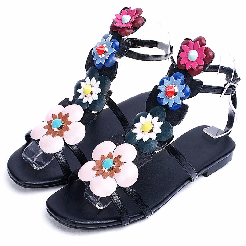 ФОТО new flat genuine leather women shoes rivets women sandals spring summer shoes gladiator woman fashion flowers #Y0219-02