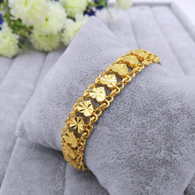 Hotsale Stylish 24k Gold Plating Heart Charm Bracelet for women Love Lace Bangle Girls Wholesale  Fashion Jewelry Gifts