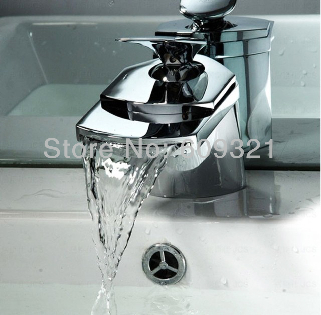 Freeshipping Waterfall Faucet Bathroom Faucet Water Mixer Wash Basin Bathroom Sink Faucet Tap Water