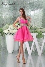 2017 Sexy Pfirsich Organza Halter Perlen A Line Short Cocktailkleider Perlen Backless Mini Homecoming Kleid Haken Prom Kleider