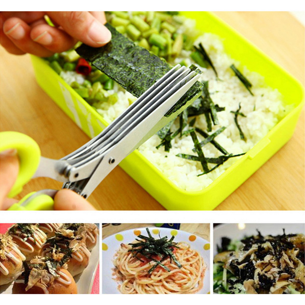 5 Layers Blade Scallion Scissors Multifunctional Kitchen Shredded Knives Fruit Vegetable Cut Herb Spices Cooking Tools