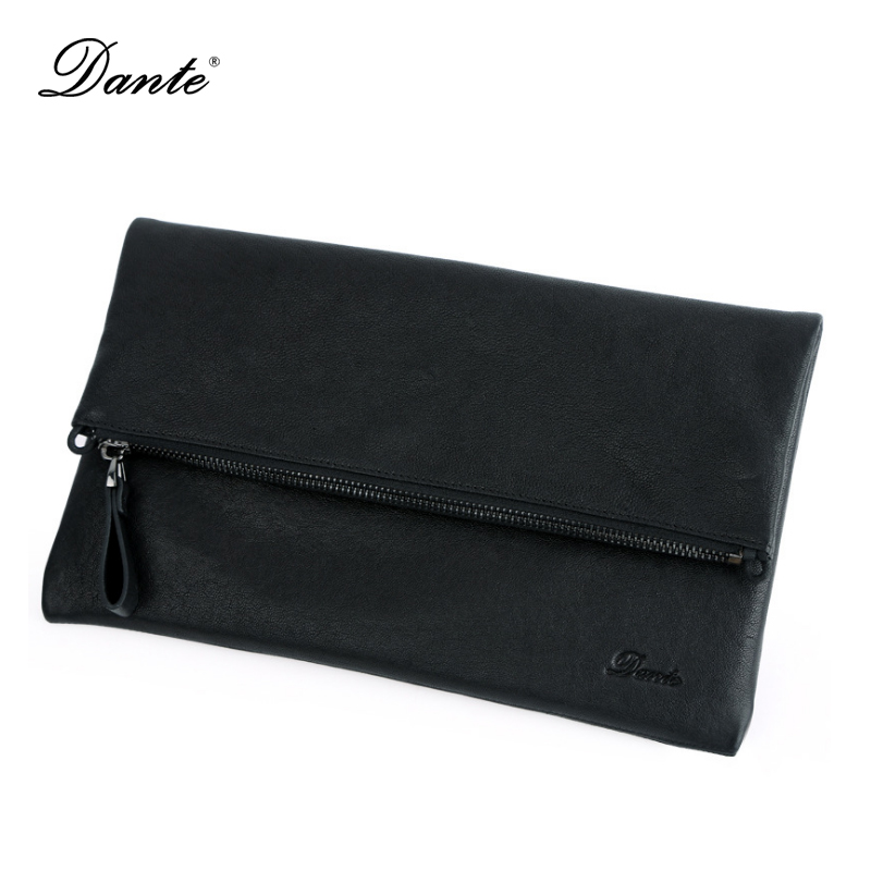 DANTE Super Soft Genuine Leather Men Messenger Bag Envelope Clutch Designer Handbags High Quality Crossbody Shoulder Bags DT010