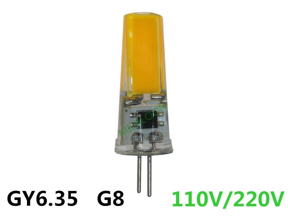 Lâmpada de luz de silicone led gy6.35 g8 110v, g6.35 220v cob2508 regulável 220v gy6.35 110v g8 led lâmpada de cristal 110v gy6.35 g8 220v