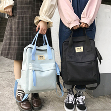 Cute Canvas Backpack Women Large Capacity Solid Color Schoolbags Chic Travel Teen Girls Unisex Casual Bookbags 2019