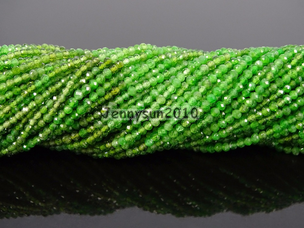 Grade AAA Brilliant Cut Shining Natural Crome Diopside Gems Stones 2mm Faceted Round Beads 15 Jewelry Making 2 Strands/Pack