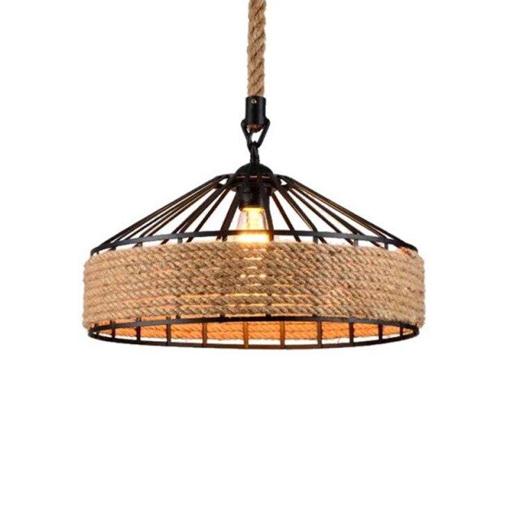 American Retro Hemp Rope Indoor Pendant Lights Fixture Vintage Loft Restaurant Kitchen Hanging Lamp Suspension Round Luminaire