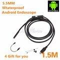 6 LED 5.5mm Lente Android USB Endoscópio Endoscópio Tubo de Inspeção Câmera com 1.5 M de Cabo À Prova D' Água Espelho Gancho Ímã