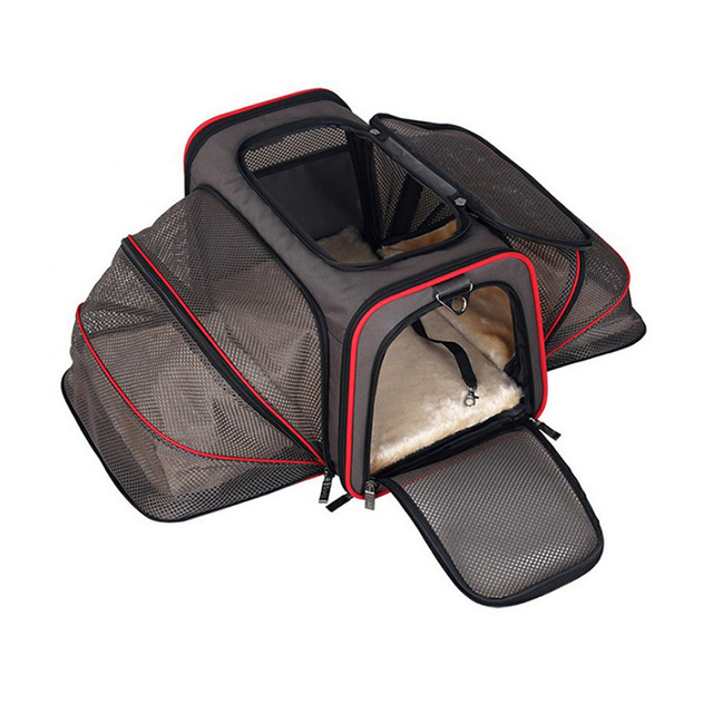Luxurious Expandable Portable Pet Dog Car Travel Bag For Small Dogs Oxford Breathable Cat Carrier Outdoor