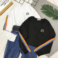 YouGeMan Autumn T Shirt Woman Clothes Korean Ulzzang Harajuku Rainbow Striped T-shirt Female Long Sleeve Tshirt Casual Basic Top