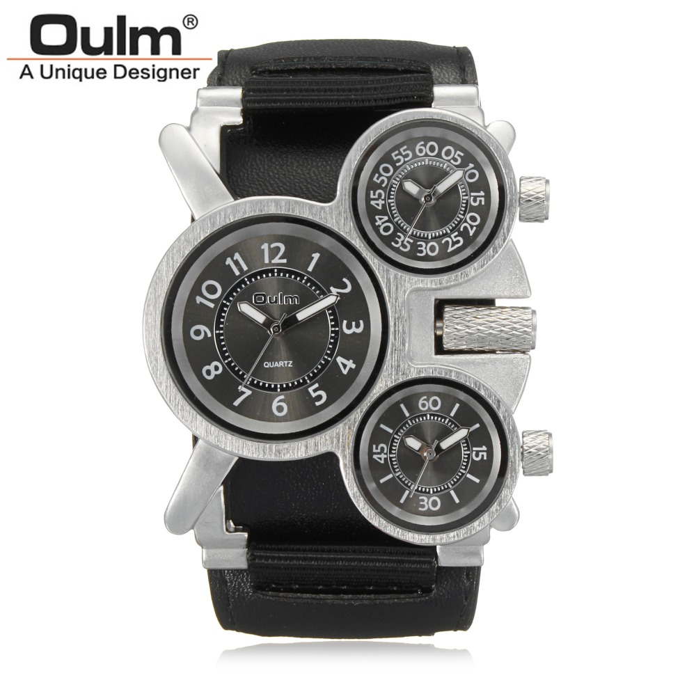 Mens Watches Oulm Brand Luxury Military Quartz Watch Unique 3 Small Dials Leather & Canvas Strap Male Wristwatch Relojes Hombre oulm casual leather sports watches men luxury brand unique designer military watch male quartz wrist watch relojes deportivos