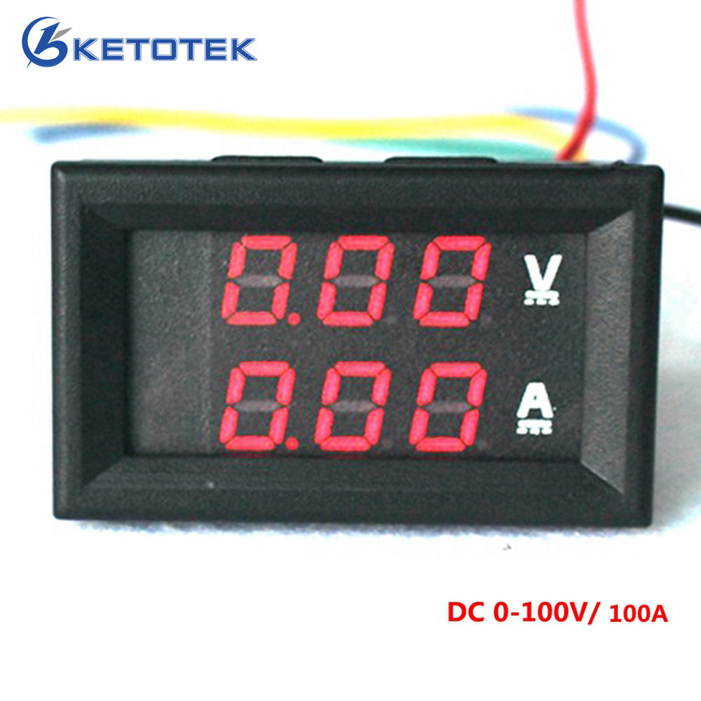 Led Digital Dc Voltmeter Ammeter 0 100v 100a Voltage Meter Wiring Diagram On Car Amp Volt Motorcycle Battery Monitor In Meters From Tools