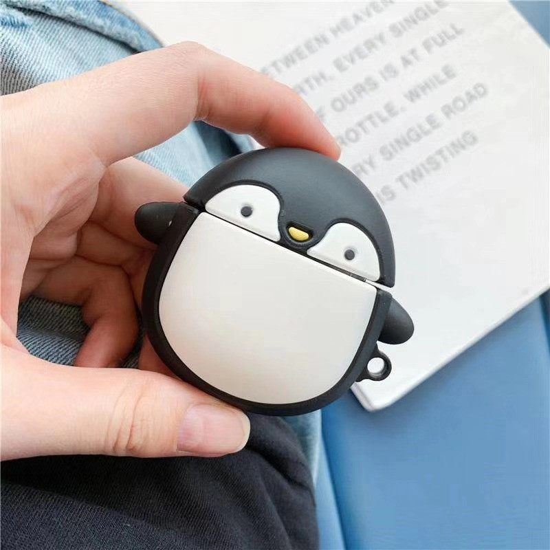 For AirPods 2 Case Cute Cartoon Little Penguin Earphone Case For Apple Airpods Soft Silicone Protect Cover Funda