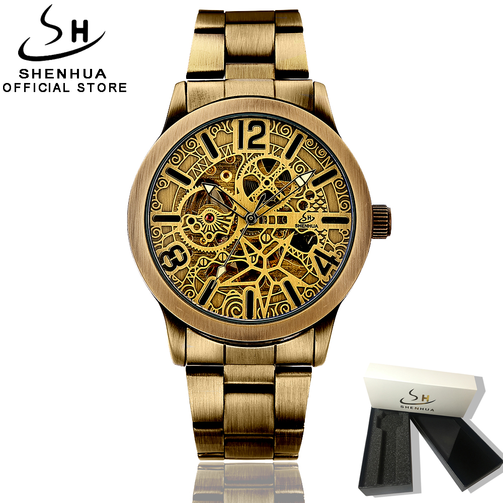 Shenhua 2018 New Skeleton Steampunk Watch Men Clock Automatic Self winding Mens Antique Watch Mechanical Vintage Wrist Watch Man