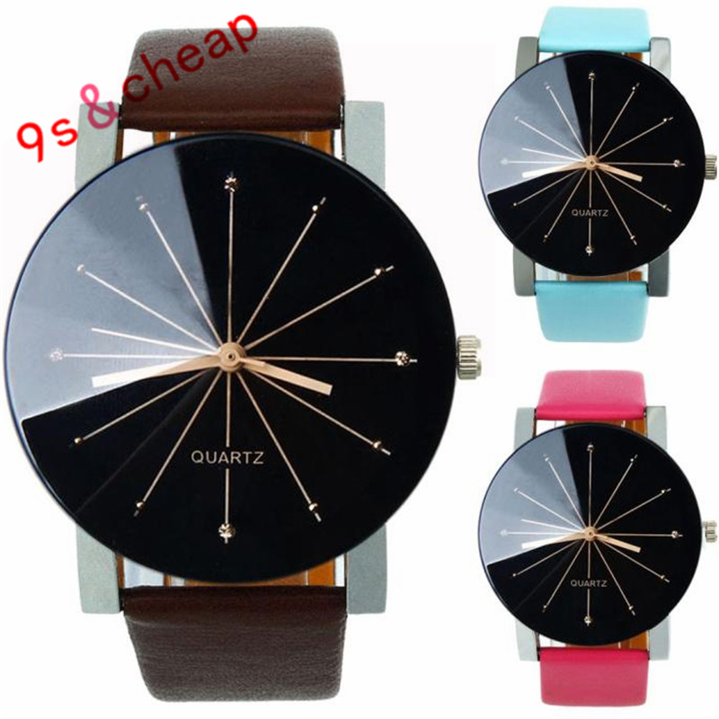 Men Quartz Dial Clock Leather Wrist Watch Round Case  Free Shipping #290717