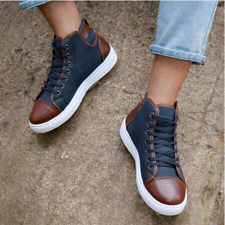 Otoño Cuero Hombres Casual Botines Alto De Top Masculino as Photos Sapatos Hombre As Los Frente Cordones 2017 Photos Zapatos Tenis Invierno X16Pw