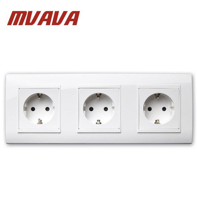 MVAVA EU European Standard Wall Socket Triple 3 Frame 16A 110V 220V ...