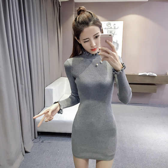 Casual Winter Turtleneck Knitted Cashmere Thick noodle Sweater Dress Warm  Women Cotton Straight Dress Pullover Female 39c863137064