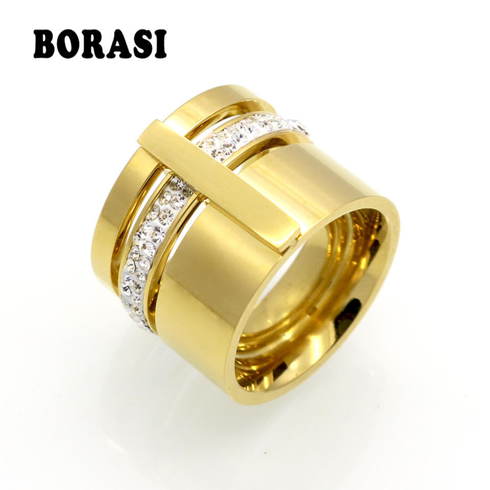 Arany színű cirkon kristály titán rozsdamentes acél gyűrűk nőknek férfiak esküvői ékszerek három réteg szépség anillos női gyűrűk