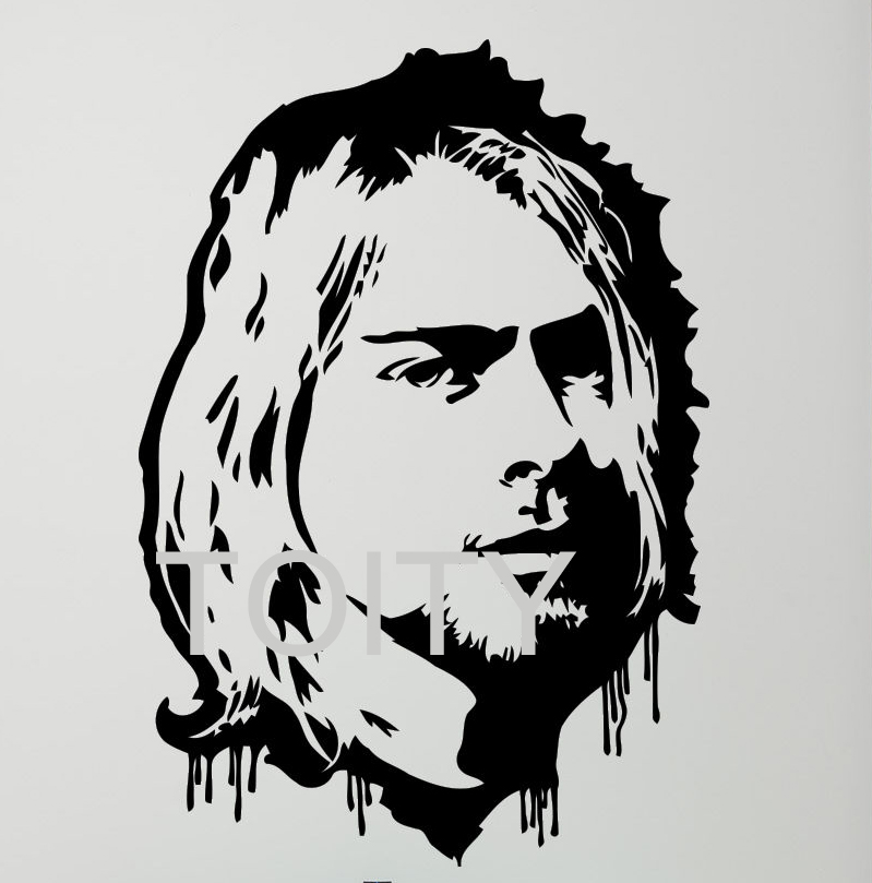 ≧Kurt Cobain walll pegatina rock music vinyl Decal dorm Studio bar ...