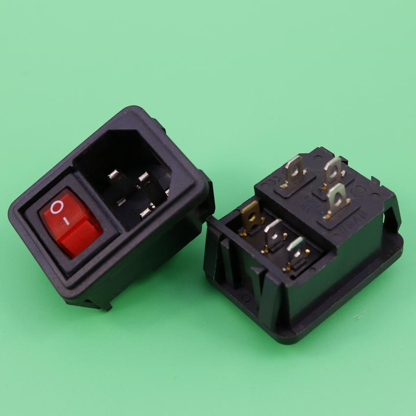 YuXi Power Rocker Switch Fused IEC 320 C14 Inlet Electrical Socket Plug 3Pin Industrial socket Plug with 3pin 3gear switch yuxi new two way socket iec320 c14 inlet c13 outlet electrical socket industrial plug power rocker socket connector 10a 250v