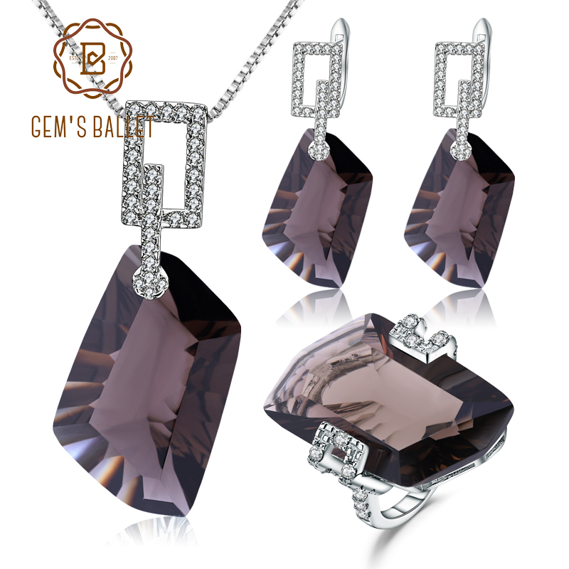 GEM'S BALLET 925 Sterling Silver Necklace Earrings Ring Set Natural Smoky Quartz Jewelry Set For Women Wedding Fine Jewelry