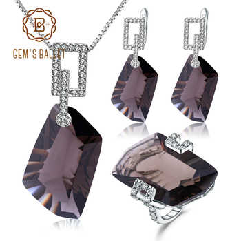 GEM'S BALLET 925 Sterling Silver Necklace Earrings Ring Set Natural Smoky Quartz Jewelry Set For Women Wedding Fine Jewelry - DISCOUNT ITEM  45% OFF All Category