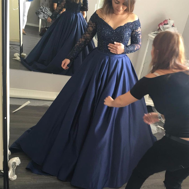 2019 Long Sleeve   Prom     Dresses   with V Neck Navy Blue Satin Off the Shoulder Beading   Prom     Dress   Puffy Formal Evening Party Gowns