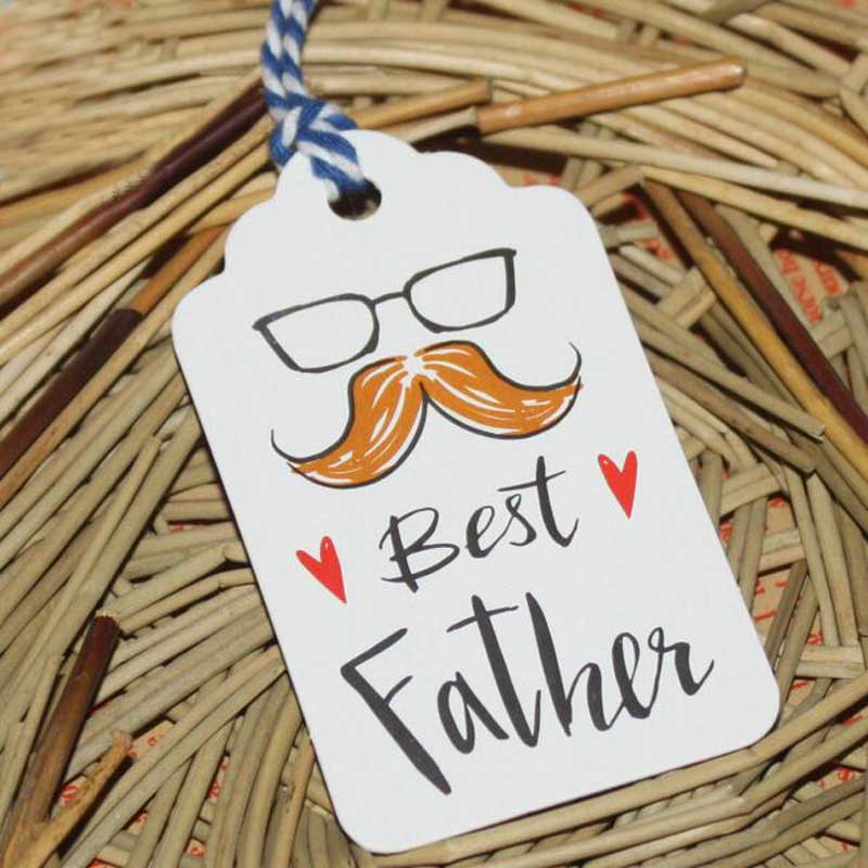 50pcs/set Best Father Paper Tags With String DIY Craft Label Luggage Party Favor Christmas Decoration Hanging For Home Navidad