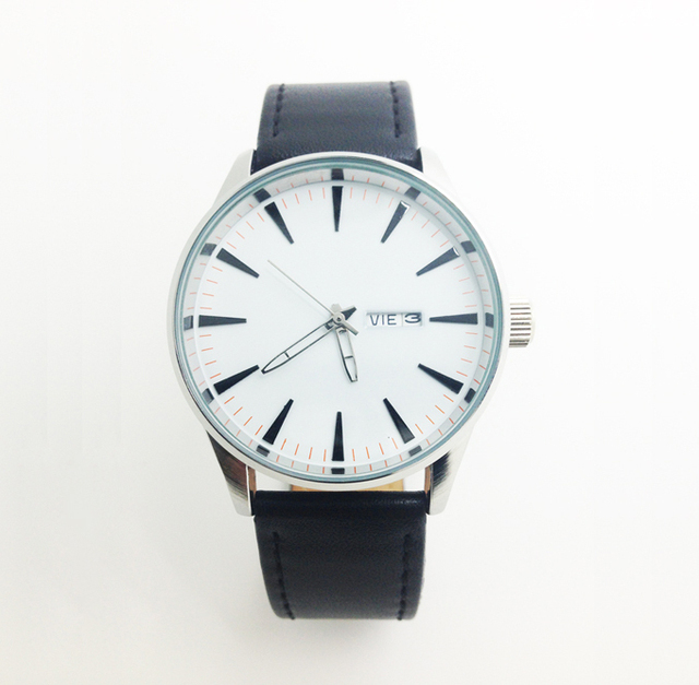 Men Clock Black Leather Watch White Face Auto Date Day Dial Face