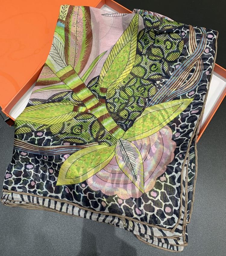 Protea Scarf Women Female Brand Printing Scarves 140 140cm Chiffon Silk Large Square Shawls Wraps