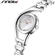 SINOBI Elegant Small Shell Dial Bracelet Watch For Women Skeleton Design Ladies Wrist Watches 2017 relogio feminino Silver