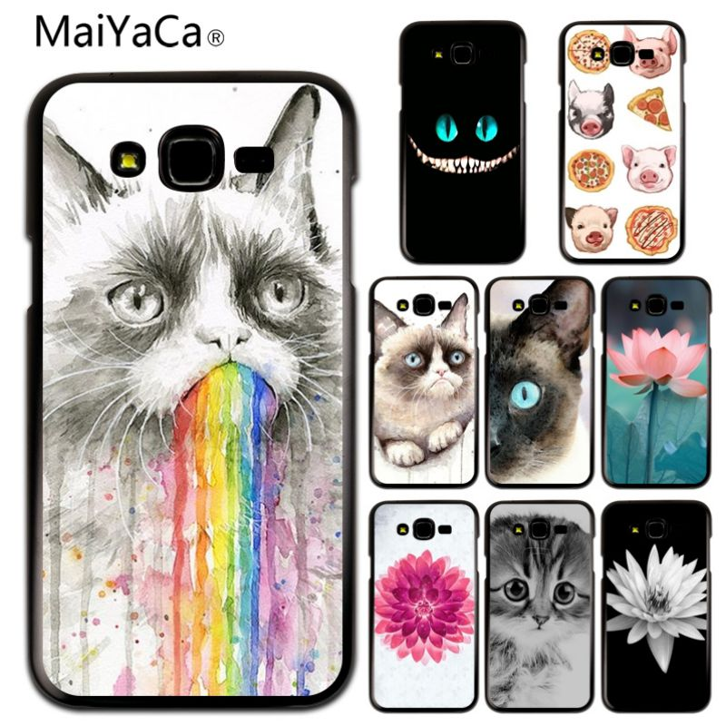 Half-wrapped Case Fast Deliver Maiyaca The Flowers And The Cat Novelty Fundas Phone Case Cover For Samsung J1 J3 J5 J7 J120 J510 J710 Case Cover