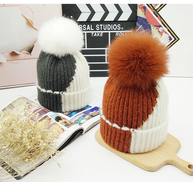 PUNS002 New Patchwork Women Winter Removable Fox Fur Pom pom Knitted   Skullies     Beanies   Caps Fluffy Curled Fur Hats