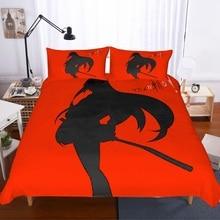 Japanese Style Bedding Set 3 Piece Red/Black Duvet Cover Fashion Anime Bed Linen Boy/Girl Home Bedclothe Cartoon