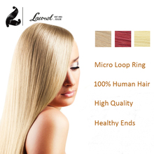 6A 16″18″20″22″24″inches Micro Loop Ring Human Hair Extensions Red Colorful Hair Remy Straight Hair 50Strands 100Strands Selling