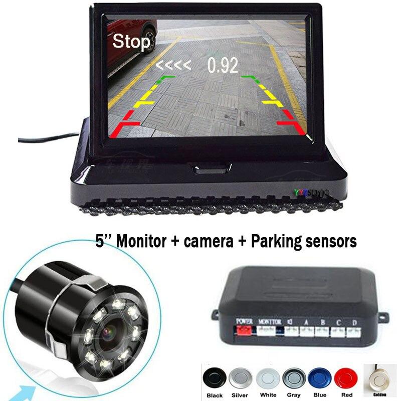 Stationnement 4 capteurs voiture Auto marche arrière 8 IR CCD caméra de recul parc Radar alarme 5 pouces système de moniteur pliant tout en un